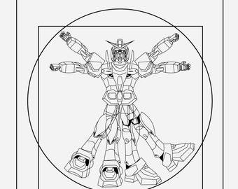 GN-000 0 Gundam:  Vitruvian Gundam - Anime Digital Art Poster Print 11 X 17