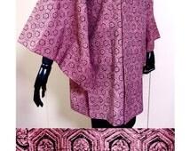 "Japanese Kimono sleeve Jacket, pink & black Silk ""Michiyuki"", front Large Pocket, Hexagon Flower Pattern, unused"