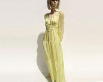 sale: Vintage Maxi Dress, 70s Boho Sheer Maxi, Pastel Yellow Dress, Lace Hippie Dress,  70s Maxi Party Dress, Summer Party Dress, m