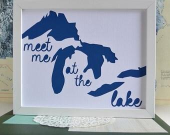 Lake House Decor, Michigan Gift, Great Lakes, Lake House Art, Gift Ideas, Michigan Art, Meet Me at the Lake
