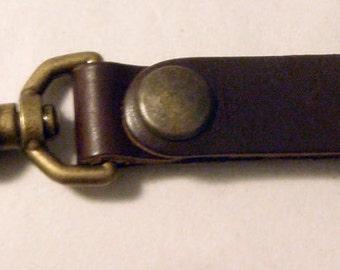 Darkwear Clothing Brown Leather Key Fob/Steampunk Harness Clip Belt Clip Tankard Strap w Antique Brass