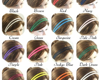 double 2 strand fabric hairband headband made from a cotton mix fabric with elastic back for comfortable fit made in many colours colors