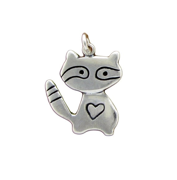Sterling Raccoon Necklace - Silver Raccoon Pendant or Charm