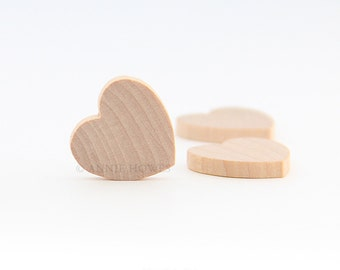 Wood Hearts. 3/4 Inch Dainty Wood Hearts. Wedding Table Decorations. 100 Pack.