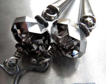 Black Spike Earrings with Crystal - Gunmetal Black Dagger Earrings, Metallic Black Jewelry, Goth Gothic Jewelry, Punk Rock Girl Earrings