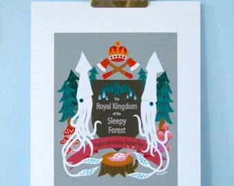 Print: The Royal Kingdom of the Sleepy Forest - Art Illustration Wall decor Squid Mushroom Crest Emblem Nature Wood Bat Slug