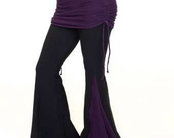 Flared Dance Pants with attached ruched skirt - BOOTY FLARES - Tribal fusion pants, festival clothing