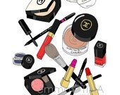 Chanel Makeup Haul Fashion Illustration Art Print
