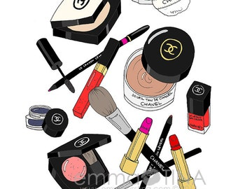 Chanel Makeup Haul Fashion Illustration Art Print