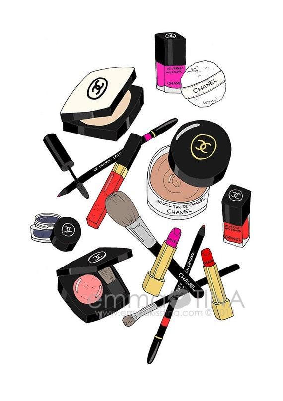 Makeup Drawing: Chanel Makeup Haul Fashion Illustration Art Print By