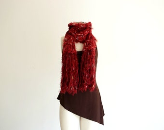 Cranberry Red Scarf Cranberry Scarf Knit Red Scarf with Fringe and White, Black, Brown Speckles