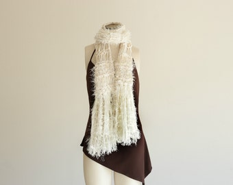 Winter White Scarf Long Cream Scarf Cream and White Scarf White and Cream Natural Color Scarf Off White Scarf