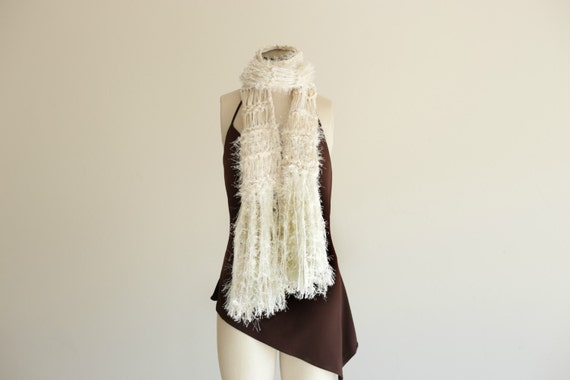 Winter White Knit Scarf Long Cream Scarf Cream and White Scarf White and Cream Natural Color Off White Scarf