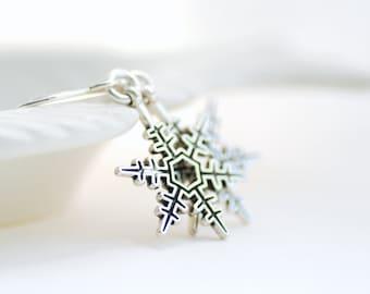 Silver Snowflake Earrings, Winter Jewelry, Winter Wedding, Woodland Earrings, Nature Jewelry, Snow