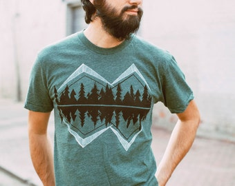 Wanderlust adventure shirt, tshirt men, mens graphic tee, Crater Lake camping shirt, pnw, mountain print, forest green, fathers day gift
