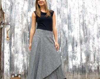 Organic Cotton & Hemp Lightweight Denim Long Wrap Skirt - Full Length Wrap Skirt by Yana Dee