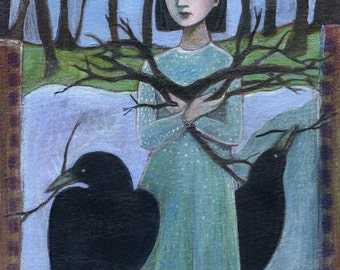 Art Print, Pick Up Sticks, crows, nest, woods