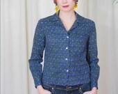 vintage 1960s / diamond print / novelty  printed blouse / shirt / mod blouse /