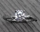 Diamond Twig Engagement Ring: White, Yellow, or Rose Gold, Half Carat, Prong Set
