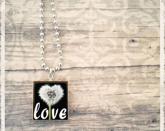 Scrabble Tile Art Pendant Necklace - I love you Dandelion - Scrabble Jewelry Charm - Customize - Choose Your Style