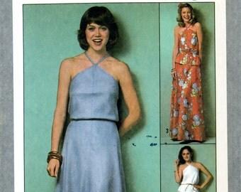 Simplicity 8531 Jiffy Two Piece Bias Halter Dress Size 10 Uncut Vintage Sewing Pattern 1978