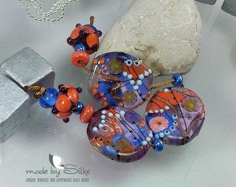 Handmade lampwork beads  l  free-formed   l  Coral Reef  l SRA   l  glass set   l   made by Silke Buechler