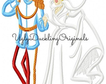 Cinderella Prince Charming Wedding Machine Embroidery Applique Design Digital Download