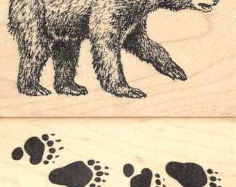 2 Piece Black Bear and Tracks Rubber Stamp Set (9510, 6910) Wood Mounted