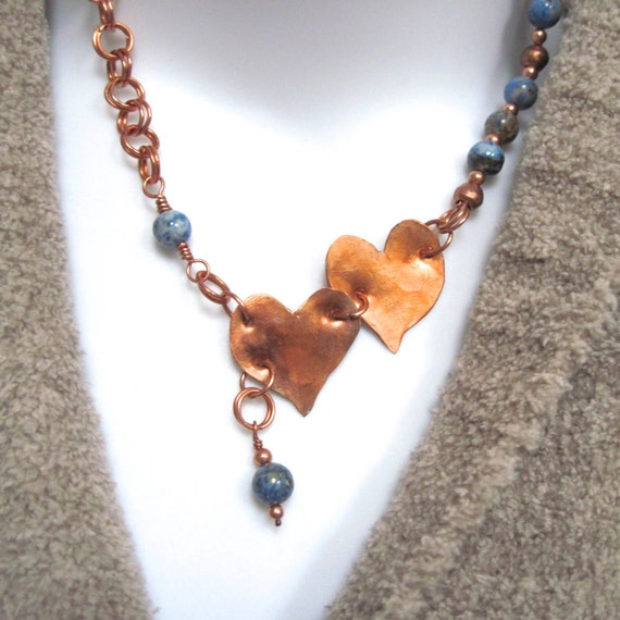 Twin Copper Hearts Necklace Blue Denim Lapis Gemstone Pendant Handmade Chain Valentines Jewelry