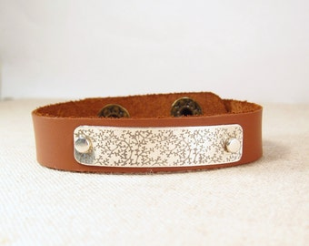 Leather Cuff Bracelet -  Engraved Leather Cuff
