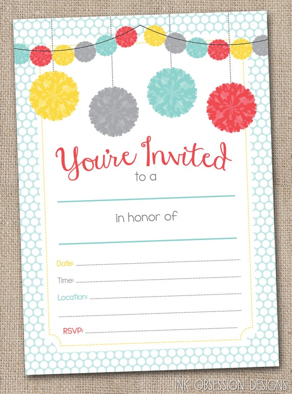 Fill in printable party invitations instant by for Online engagement party invitations