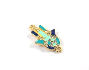 1pc- Matte Gold plated Hand of Hamsa with enamel evil eye with rhinestone connector-30x16 mm-(021-012GP)
