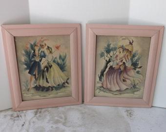 Vintage pair or set Bernard print Victorian couple Southern belle framed in pink frames