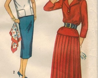 1950s Simplicity 2388 UNCUT Vintage Sewing Pattern Misses Two Piece Dress, Full Skirt, Pencil Skirt, Top Size 14 Bust 34