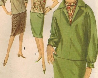 1960s Simplicity 5108 Vintage Sewing Pattern Misses Skirt, Blouse, Top Size 12 Bust 32
