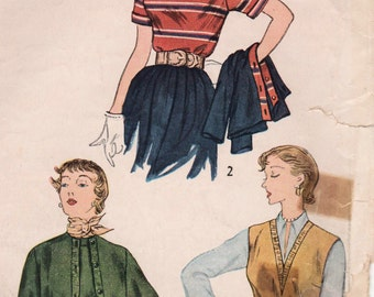 1950s Simplicity 3300 Vintage Sewing Pattern Misses Blouses and Jacket Size 12 Bust 30