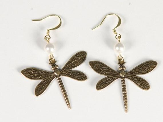 Dragonfly Earrings | Gold | Pearl |nature-inspired, charm, dangle stamped jewelry | Handmade in Santa Cruz