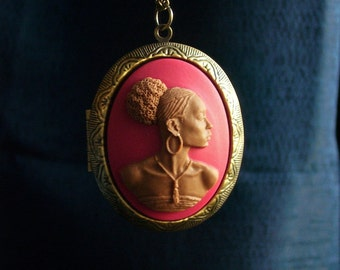 African cameo locket, red cameo locket, African American locket, long necklace, antique brass locket