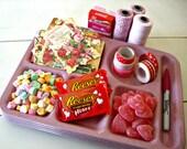 Pretty In Pink, Valentine Pink Speckled Vintage Melamine School Cafeteria Trays