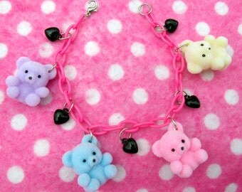 Kawaii Pastel Rainbow Teddy Bear Charm Bracelet