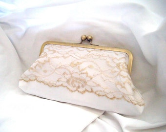 Bridal Clutch - Lace Clutch - Gilded Gold- Elegant Bridal Clutch - Metallic Gold and White Lace - White Satin clutch - white and gold clutch