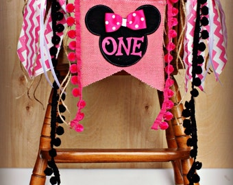 Minnie Mouse Banner...Photo Prop...Birthday AGE Highchair Banner...Rustic Banner...Decorations