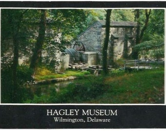 WILMINGTON - HAGLEY MUSEUM - Delaware - Water Wheel gives power to the 2 Mills- Brandywine Industry- real photo- Photographer Pulling - Mint