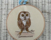 Hand Embroidered Owl Hoop Art Bird