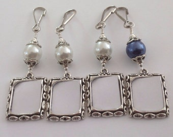 Wedding bouquet photo charms. 4x Pearl memorial charms. Small frames for a bridal bouquet. Brides gift- white or navy blue.