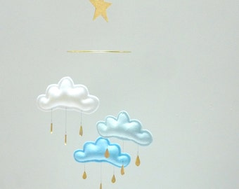 "White,Light Blue,Blue cloud mobile for nursery ""NORD""  with gold star by The Butter Flying-Rain Cloud Mobile Nursery"