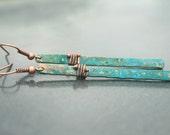 Verdigris Earrings - Industrial Bar Earrings - Verdigris Patina Earrings - Copper Earrings - Long Bar Earrings - Boho Earrings