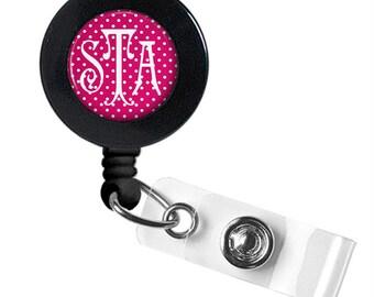 Monogram Badge Reel, Monogram ID Badge, Monogram Retractable Badge Reel, Personalized Badge Reel (350)