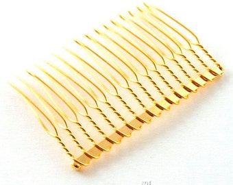 10 x 6cm Gold Tone Metal Wire Combs Hair Accessories