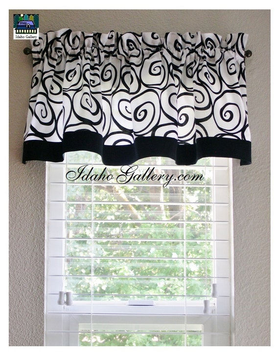 And white ironworks window valance kitchen curtain or bedroom valance